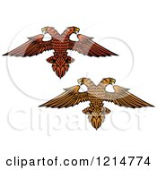 Clipart Of Heraldic Double Headed Eagles Royalty Free Vector Illustration