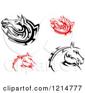 Clipart Of Black And White And Red Tribal Horse Heads Royalty Free Vector Illustration
