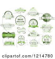 Clipart Of Vintage Green Retail Quality Guarantee Labels Royalty Free Vector Illustration