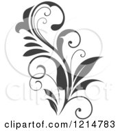 Clipart Of A Gray Flourish Design 5 Royalty Free Vector Illustration