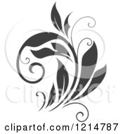 Clipart Of A Gray Flourish Design 7 Royalty Free Vector Illustration