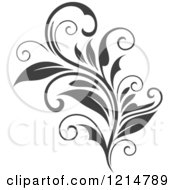 Clipart Of A Gray Flourish Design Royalty Free Vector Illustration