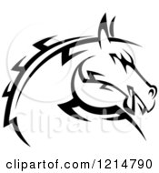 Clipart Of A Black And White Tribal Horse Head 2 Royalty Free Vector Illustration
