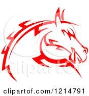 Clipart Of A Red Tribal Horse Head 2 Royalty Free Vector Illustration