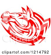 Clipart Of A Red Tribal Horse Head Royalty Free Vector Illustration
