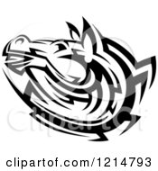 Clipart Of A Black And White Tribal Horse Head Royalty Free Vector Illustration