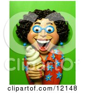 Clay Sculpture Clipart Happy Woman Holding A Vanilla Ice Cream Cone Royalty Free 3d Illustration by Amy Vangsgard