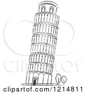 Clipart Of A Black And White Sketched Leaning Tower Of Pisa Royalty Free Vector Illustration