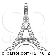 Clipart Of A Black And White Sketched Eiffel Tower Royalty Free Vector Illustration