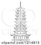 Clipart Of A Black And White Sketched Pagoda Royalty Free Vector Illustration by Vector Tradition SM
