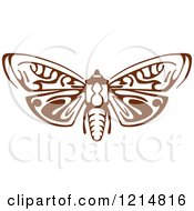 Clipart Of A Brown Woodcut Moth Royalty Free Vector Illustration