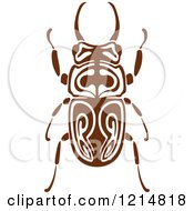 Clipart Of A Brown Woodcut Beetle 2 Royalty Free Vector Illustration by Vector Tradition SM