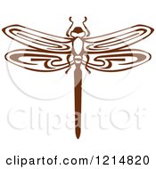 Clipart Of A Brown Woodcut Dragonfly Royalty Free Vector Illustration by Vector Tradition SM