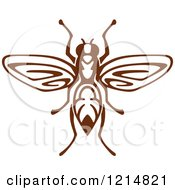 Clipart Of A Brown Woodcut Wasp Royalty Free Vector Illustration by Vector Tradition SM