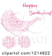 Clipart Of A Pink Floral Doodle Baby Carriage And Happy Birthday Text Royalty Free Vector Illustration