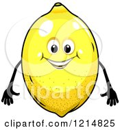 Clipart Of A Happy Lemon Character Royalty Free Vector Illustration