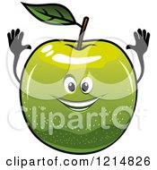 Clipart Of A Happy Green Apple Character Royalty Free Vector Illustration
