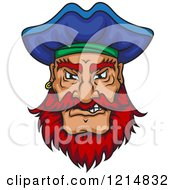 Clipart Of A Mad Pirate With A Blue Hat And Red Facial Hair Royalty Free Vector Illustration