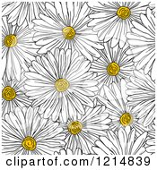 Clipart Of A Seamless White Daisy Flower Pattern Royalty Free Vector Illustration by Vector Tradition SM