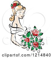 Clipart Of A Blond Bride With Red Roses Royalty Free Vector Illustration