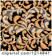 Clipart Of A Seamless Tan And Black Floral Pattern Royalty Free Vector Illustration