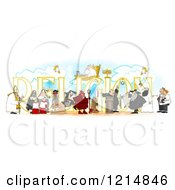 Clipart Of People Over RELIGION Royalty Free Illustration
