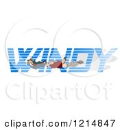 Clipart Of A Dog And People Holding Onto The Word WINDY Royalty Free Illustration by djart