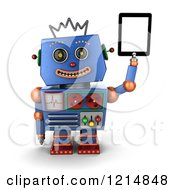 Clipart Of A 3d Vintage Blue Robot Holding Up A Tablet Computer Royalty Free CGI Illustration