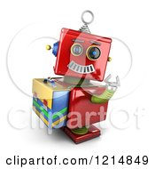Clipart Of A 3d Vintage Red Robot Waving And Wearing A Satchel Royalty Free CGI Illustration