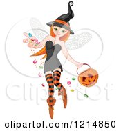 Clipart Of A Pretty Halloween Witch Fairy Sprinkling Candy Royalty Free Vector Illustration by Pushkin