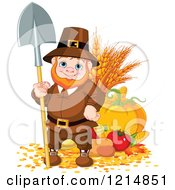 Clipart Of A Happy Pilgrim Gnome With Autumn Harvest Vegetables Royalty Free Vector Illustration by Pushkin