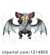 Clipart Of A Cute Happy Halloween Vampire Bat Royalty Free Vector Illustration by AtStockIllustration