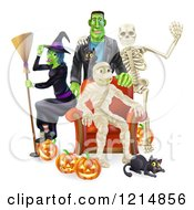 Clipart Of A Witch Frankenstein And Skeleton Around A Seated Mummy With A Black Cat And Halloween Pumpkins Royalty Free Vector Illustration