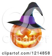 Clipart Of A Carved Halloween Jackolantern Pumpkin With A Witch Hat Royalty Free Vector Illustration by AtStockIllustration