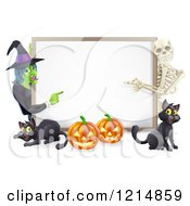 Clipart Of A Happy Witch Skeleton Pumpkins And Black Cats Around A Blank Sign Royalty Free Vector Illustration by AtStockIllustration