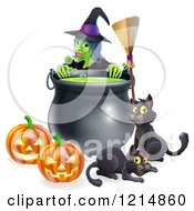 Clipart Of A Green Witch Over A Cauldron With Black Cats A Broomstick And Jackolanterns Royalty Free Vector Illustration by AtStockIllustration