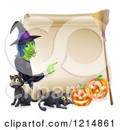 Clipart Of A Witch Pointing To A Scroll Sign With Black Cats Halloween Pumpkins And A Broomstick Royalty Free Vector Illustration by AtStockIllustration