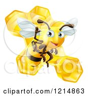 Clipart Of A Friendly Cute Bee Waving Over Honeycombs Royalty Free Vector Illustration by AtStockIllustration