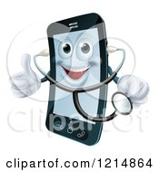 Happy Smart Phone Wearing A Stethoscope And Holding A Thumb Up