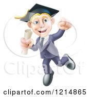 Clipart Of A Happy Blond Graduate Business Man Jumping Wearing A Graduation Cap And Holding A Diploma 2 Royalty Free Vector Illustration