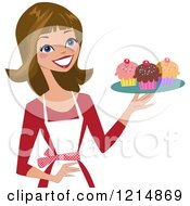 Clipart Of A Happy White Baker Woman Holding A Tray Of Cupcakes Royalty Free Vector Illustration by peachidesigns #COLLC1214869-0137