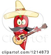 Cartoon Of A Hispanic Red Hot Chili Pepper Character With A Mustache Wearing A Sombrero And Playing A Guitar Royalty Free Vector Clipart