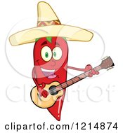Cartoon Of A Hispanic Red Hot Chili Pepper Character Wearing A Sombrero And Playing A Guitar Royalty Free Vector Clipart