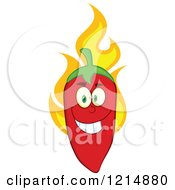 Cartoon Of A Red Hot Chili Pepper Character With Flames Royalty Free Vector Clipart by Hit Toon