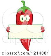 Cartoon Of A Red Hot Chili Pepper Character Holding A Sign Royalty Free Vector Clipart by Hit Toon