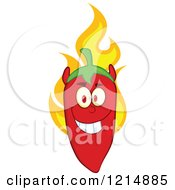 Cartoon Of A Red Hot Devil Chili Pepper Character On Fire Royalty Free Vector Clipart by Hit Toon