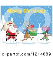 Cartoon Of A Merry Christmas Greeting Over An Elf Reindeer And Santa With Gifts And A Sack In The Snow Royalty Free Vector Clipart by Hit Toon
