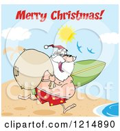 Cartoon Of A Merry Christmas Greeting Over Santa Running With A Sack And Surfboard On A Beach Royalty Free Vector Clipart