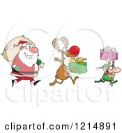 Cartoon Of A Christmas Elf Reindeer And Santa With Gifts And A Sack Royalty Free Vector Clipart by Hit Toon