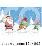 Cartoon Of A Christmas Elf Reindeer And Santa With Gifts And A Sack In The Snow Royalty Free Vector Clipart by Hit Toon